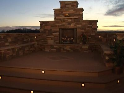 Custom Accent Lighting at Fireplace by Deck Works in Colorado Springs