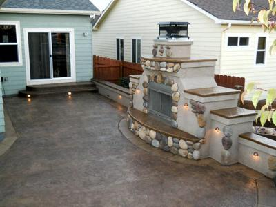 Custom Accent Lighting at Firepit by Deck Works in Colorado Springs