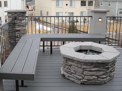 Deck Bench at Firepit by Deck Works in Colorado Springs