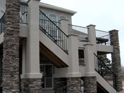 Custom Stucco, Stone & Steel Railing by Deck Works in Colorado Springs